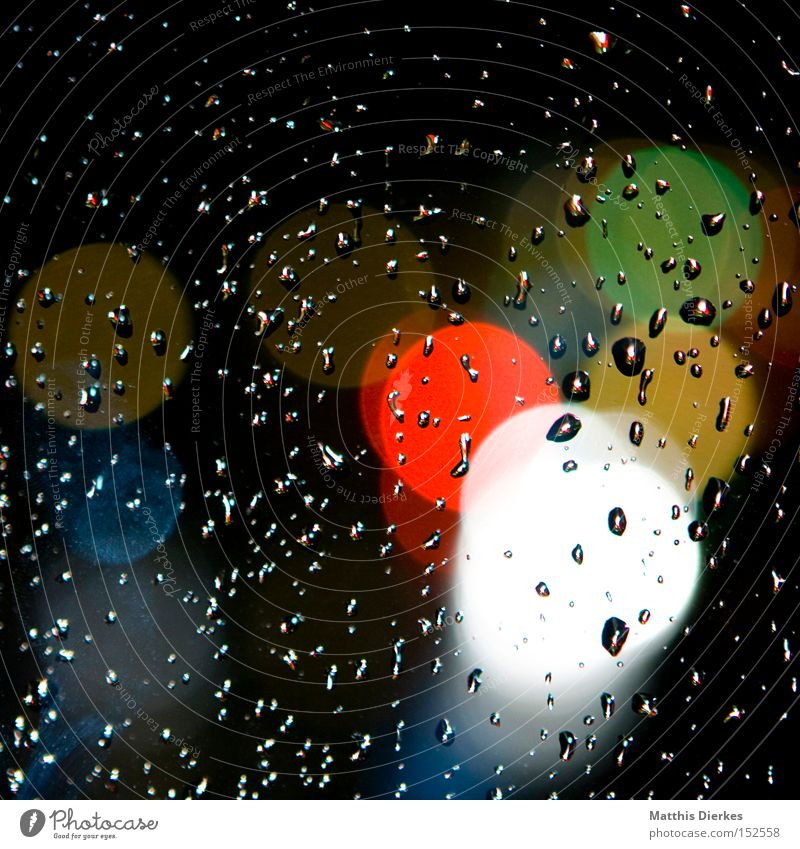 Water White Green Blue Red Yellow Colour Window Rain Drops of water Window pane Point of light Light