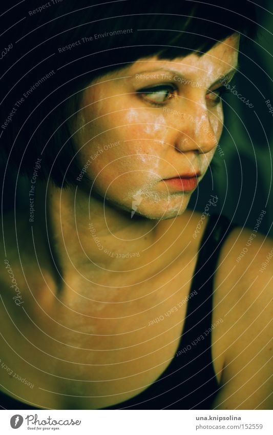 ...black to green Woman Adults Sadness Dark Black Loneliness Evil Portrait photograph Top Dark-haired Meditative Earnest Colour photo Looking Young woman Calm
