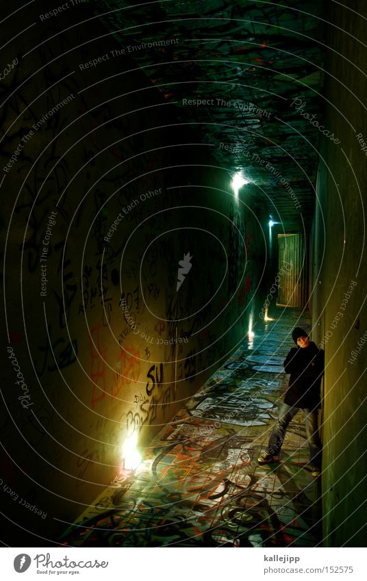 stay Man Human being Stand Underground Tunnel Underpass Light Lamp Lighting Stairs Way out Wait Graffiti Graphite Old fogey Rotation Architecture