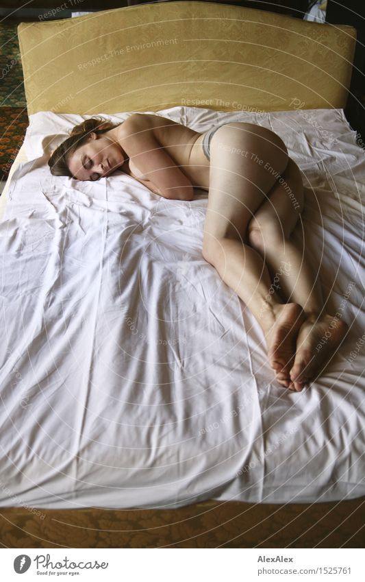 Hotel to wild silence Senses Relaxation Calm Bedroom double bed Hotel room Young woman Youth (Young adults) Legs Bottom 18 - 30 years Adults Underpants Barefoot