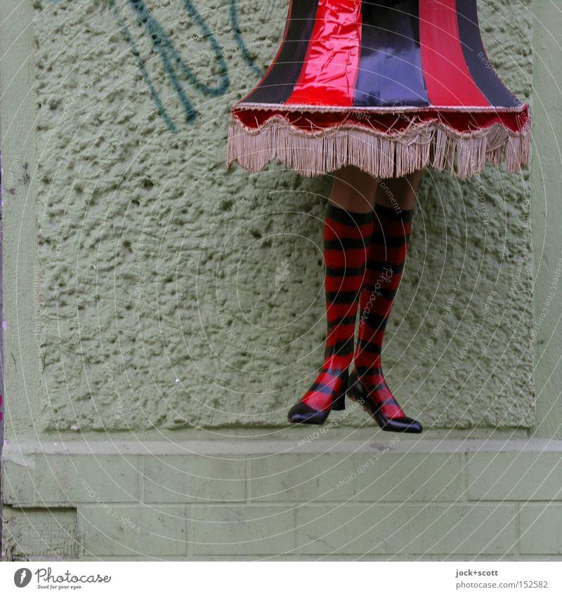 hang out Elegant Style Feminine Legs Friedrichshain Wall (barrier) Wall (building) Skirt Stockings Footwear Plastic Hip & trendy Funny Above Trashy Moody