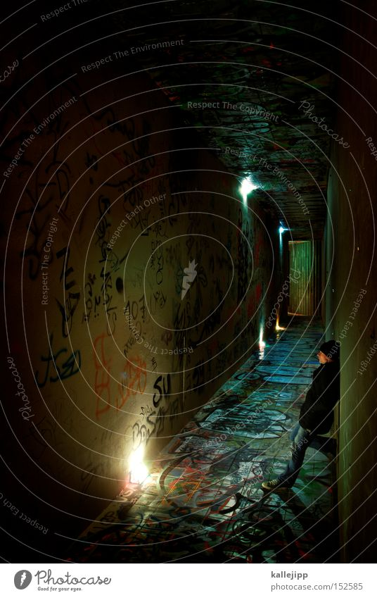 Human being Man Lamp Lighting Wait Stairs Stand Tunnel Underground Train station Way out Rotation