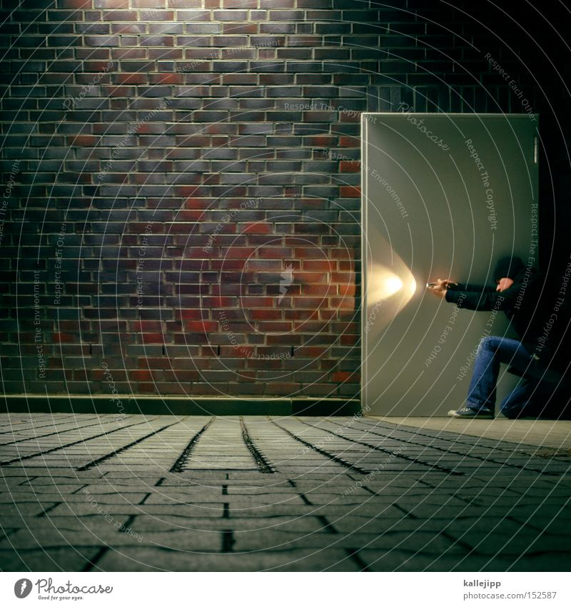 STOP Flashlight Search Contents Door Wall (barrier) Brick Man Human being Wall (building) Parking lot Safety Security force Target Research Discover