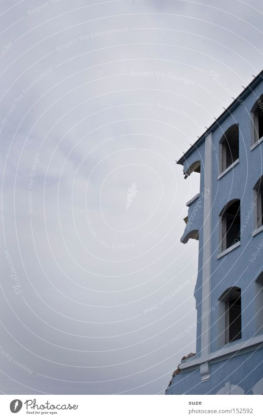 Sky Blue Old House (Residential Structure) Environment Window Wall (building) Building Facade Broken Construction site Transience Derelict Decline Plaster Ruin