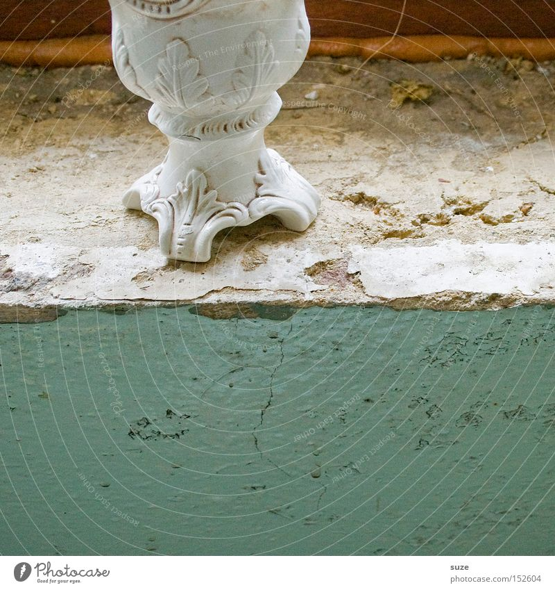 Old Wall (building) Wall (barrier) Decoration Gloomy Transience Dry Derelict Turquoise Crack & Rip & Tear Plaster Flake off Vase Precious Adornment Curlicue