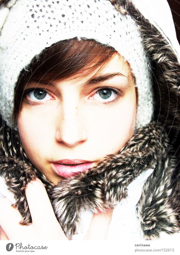 Woman Human being Beautiful Winter Eyes Cold Snow Skin Nose Frost Lips Delicate Jacket Cap Narrow Face