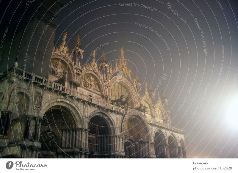 St Mark's Basilica Venice Italy Basilica San Marco Night Illuminate House of worship Venezia Marcus Cathedral piazza Religion and faith Dome Vacation & Travel