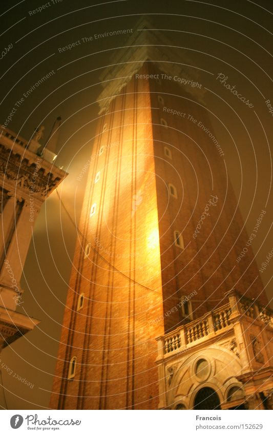 Campanile San Marco by Night Vacation & Travel Religion and faith Architecture Fog Places Tourism Tower Italy Night sky Monument Historic Traffic infrastructure