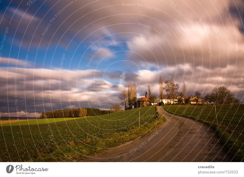 Cloud Race ll Farm Real estate Agriculture Chapel Clouds Flying Long exposure Field Autumn Tree Sowing Ecological Manmade landscape Beautiful Aviation