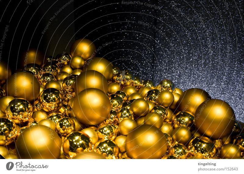 christmas kitsch Gold Sphere Glitter Ball Christmas tree decorations Christmas & Advent Christmas decoration Decoration Glittering Mountain Accumulation Kitsch