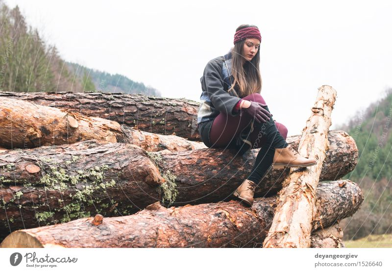 Young woman on wood Woman Nature Beautiful Tree Relaxation Loneliness Girl Forest Adults Autumn Lifestyle Hiking Action Beauty Photography Behind Caucasian