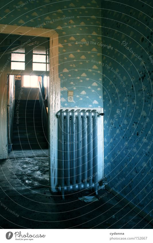 nursery House (Residential Structure) Wallpaper Heater Heating Light Old fashioned Vacancy Room Living or residing Time Transience Children's room Clouds