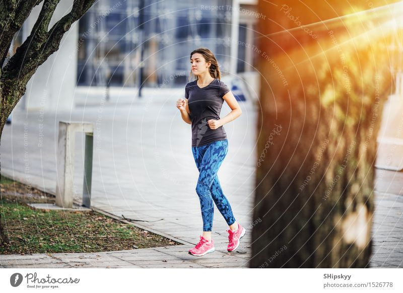 Young girl running at morning sunshine Human being Woman Youth (Young adults) Beautiful Young woman White 18 - 30 years Black Cold Adults Life Sports Legs Going
