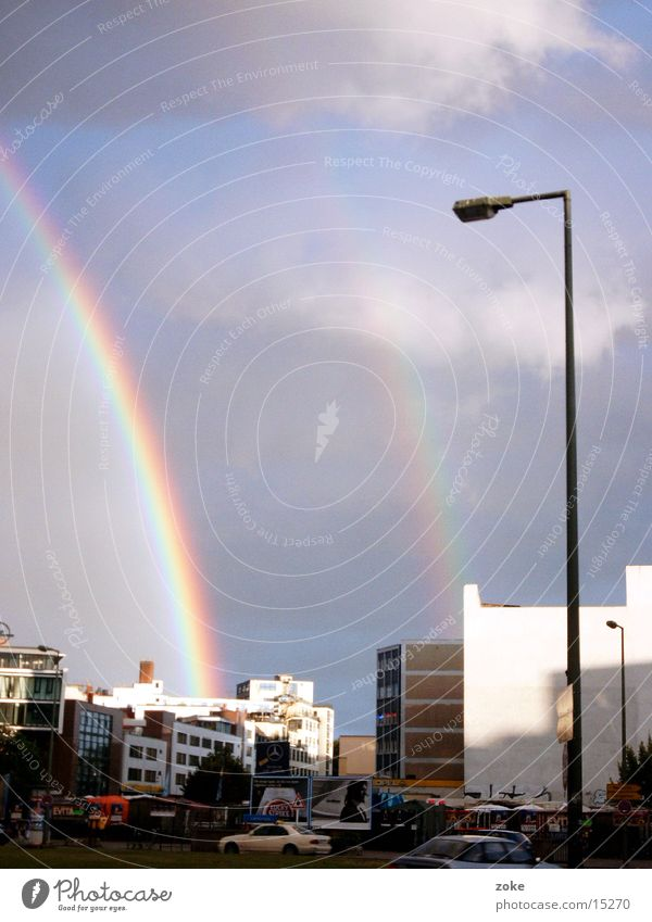 Double Rainbow Clouds Town Transport