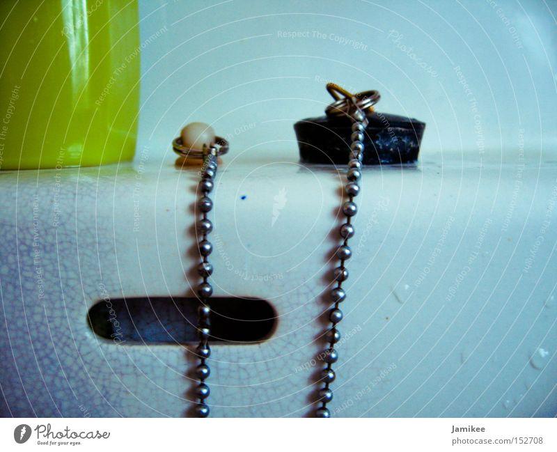 Water Old White Wet Bathroom Metalware Crockery GDR Chain Crack & Rip & Tear Seventies Sink Stopper Closure