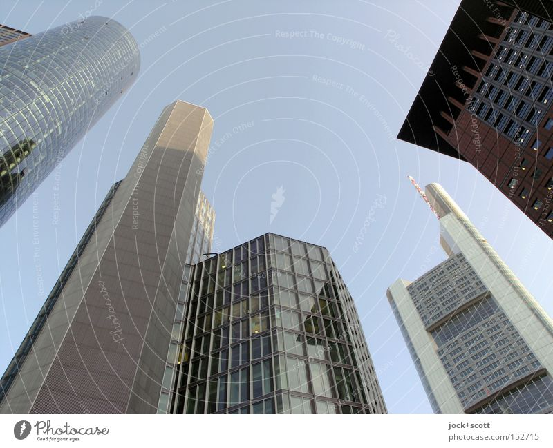 FFM banking district Financial Industry Financial institution Business Cloudless sky Frankfurt Downtown Skyline High-rise Bank building Architecture