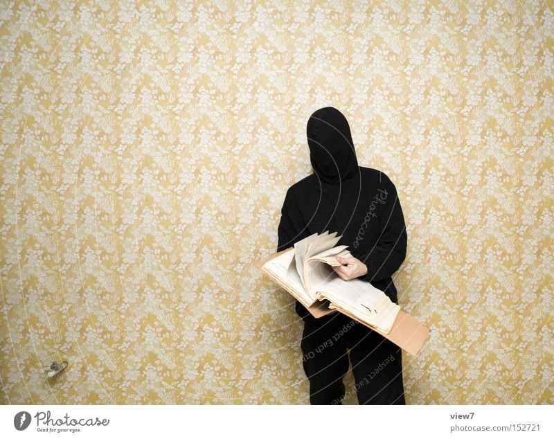 Man Black Dark Adults Study Search Authentic Cloth Retro Threat Reading Exceptional Curiosity Mask Thin Document