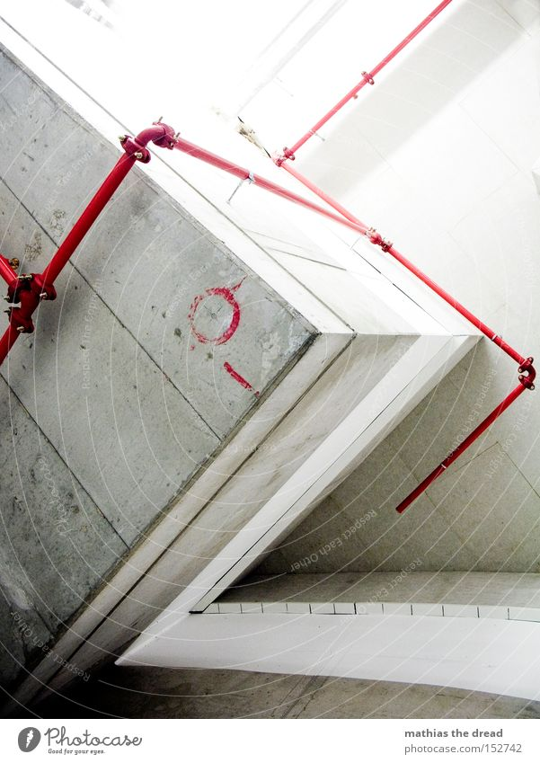 the red thread Concrete Gray Corner Cold Unfriendly Geometry Transmission lines Iron-pipe Pipe Red Progress Signs and labeling Warning colour Deserted