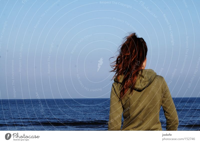 Human being Woman Youth (Young adults) Ocean Joy Loneliness Calm Adults Far-off places Feminine Hair and hairstyles Horizon Waves Wind Back Walking