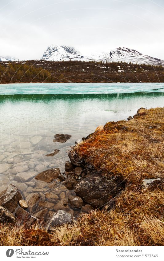 Cold, clear water Senses Calm Hiking Nature Landscape Elements Clouds Spring Winter Climate Bad weather Rain Grass Mountain Snowcapped peak Coast Lake Water
