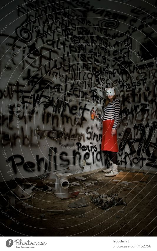Woman Cat Graffiti Mask Toilet Skirt Surrealism Penitentiary Pornography Dress up Spray Offensive Daub Mural painting Lewd
