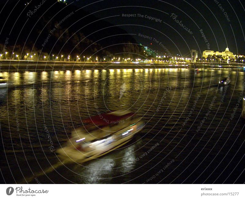 night ride Watercraft Night Long exposure Europe Danube River
