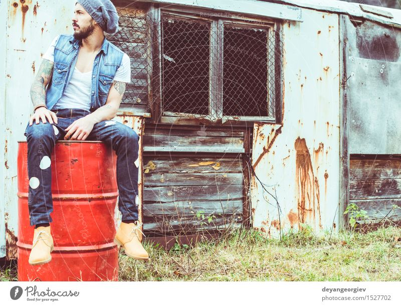 Young men in vintage ambient Human being Nature Man Summer Adults Style Happy Lifestyle Fashion Music Cool (slang) Guy Caucasian