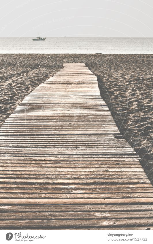 Beach and wooden trail. Nature Vacation & Travel Summer Ocean Relaxation Landscape Lanes & trails Coast Wood Brown Sand Footpath Jetty Florida Cadiz