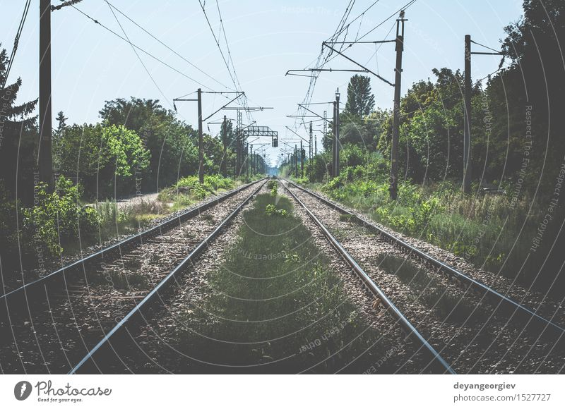 Two Railroads Vacation & Travel Trip Industry Nature Landscape Sky Horizon Transport Street Lanes & trails Steel Line Perspective tracks way background