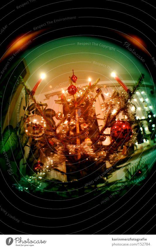 Christmas & Advent Winter Feasts & Celebrations Christmas decoration Candle Christmas tree Glitter Ball Harmonious December Pensive Fisheye