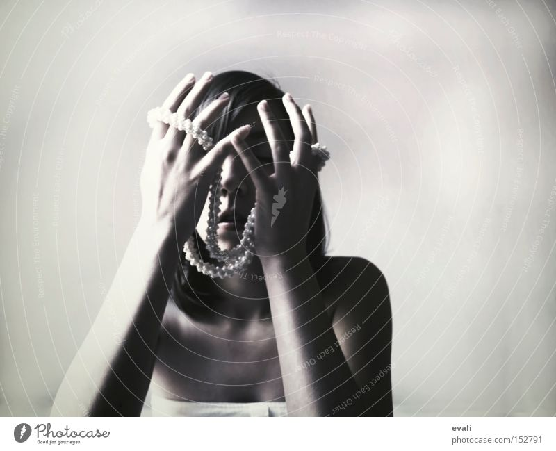 Woman Hand White Black Arm To hold on Chain Black & white photo Human being