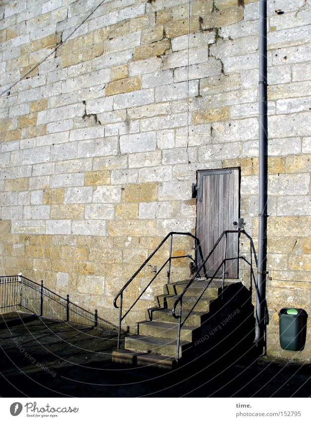 Sesame is off work Tower Architecture Wall (barrier) Wall (building) Stairs Door Landmark Stone Old Historic Sandstone Handrail Banister Trash container