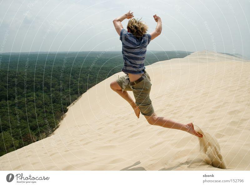 Summer Jump Freedom Sand Flying Aviation Desert Hot France Dune