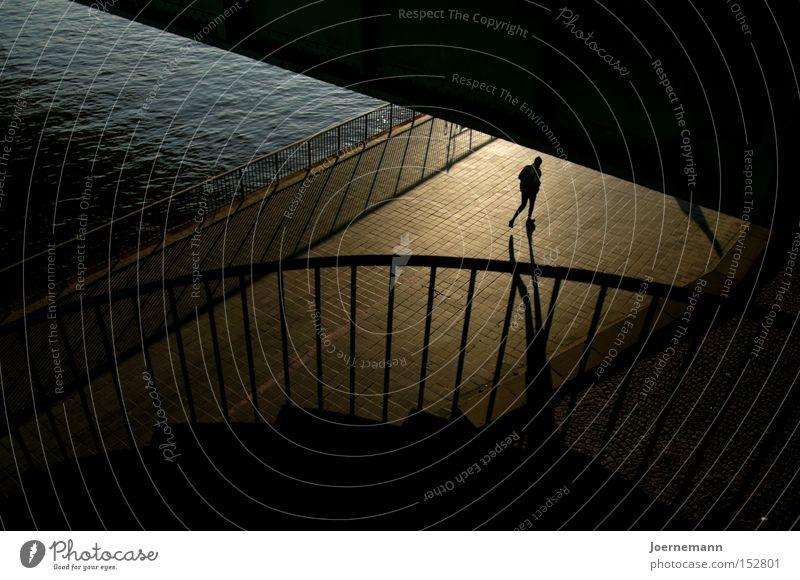 sandpiper River bank Bridge Runner Banister Stairs Shadow Jogging Dawn Morning Playing