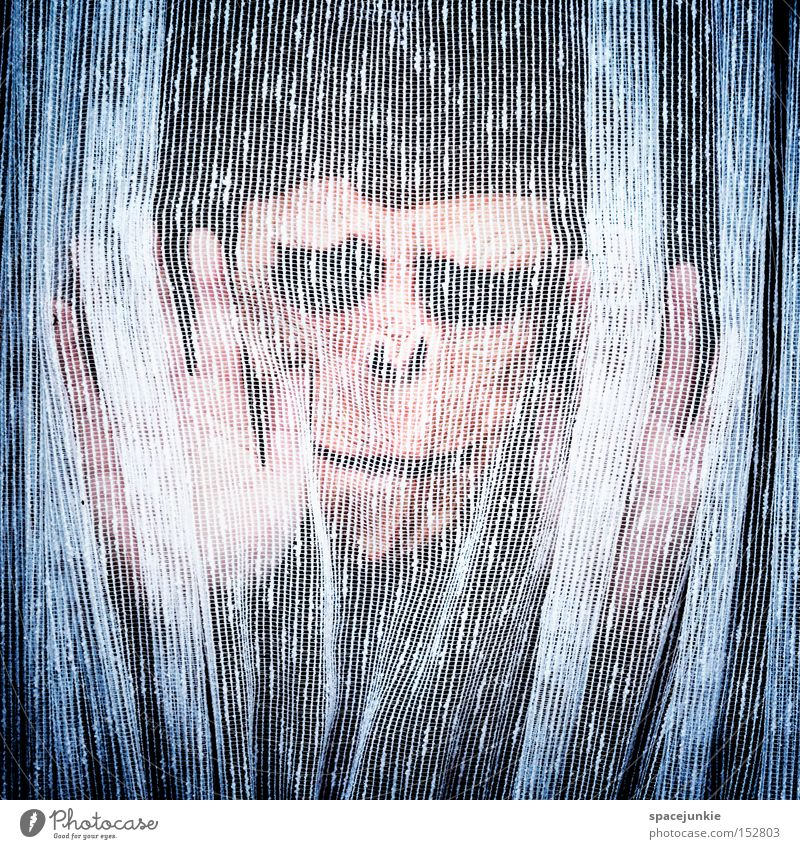 Behind the curtain (2) Monkeys Curtain Drape Window Cloth Screening Hang Mysterious Horror Looking Private Human being Fear Panic bourgeois