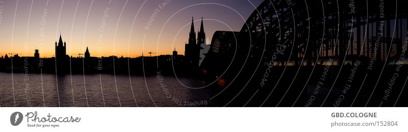 Panorama op Kölsch Panorama (View) Landscape format Cologne Cologne Cathedral Hohenzollern Bridge Rhine Dusk Sunset Silhouette Back-light Dark Long exposure