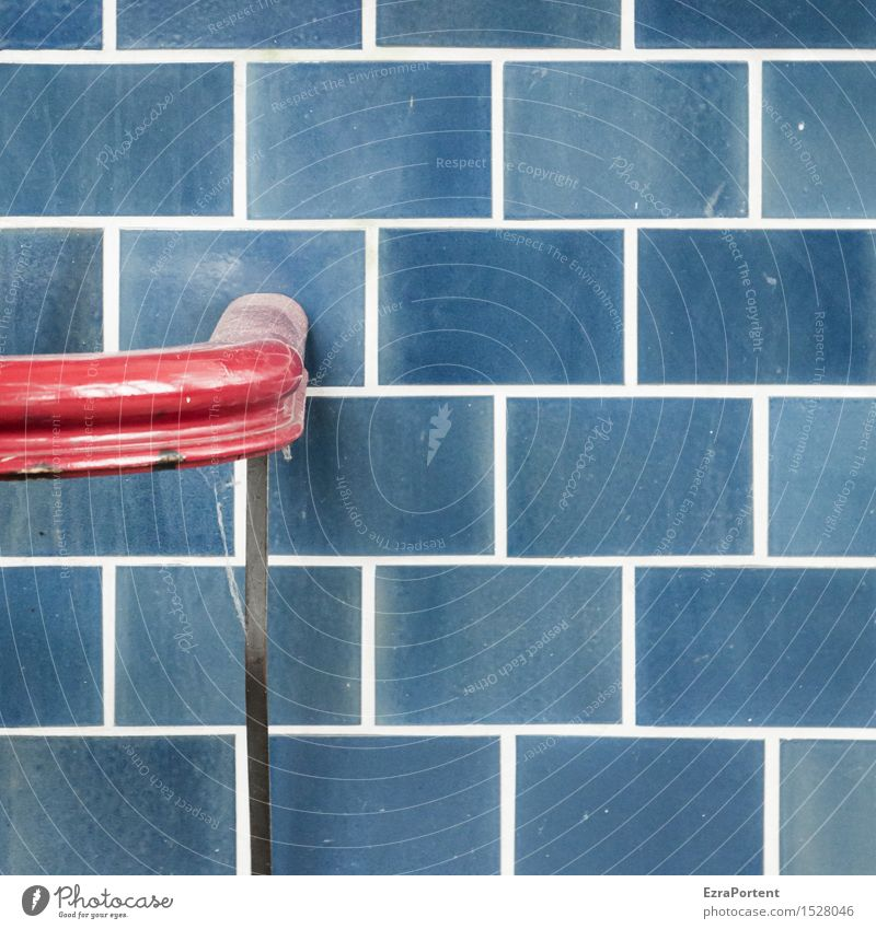 End rail Wall (barrier) Wall (building) Facade Line Blue Red Beginning Design Colour To hold on Hold Handrail Tile Colour photo Subdued colour Exterior shot