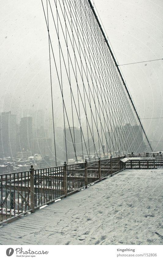 White Winter Snow Fog High-rise Rope Bridge Skyline Handrail New York City Aspire Brooklyn Bridge