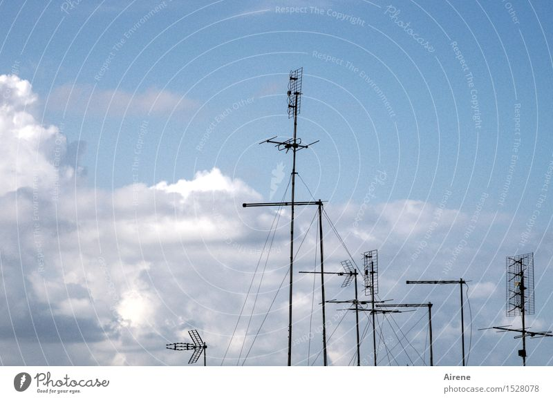 historical | terrestrial antennas Entertainment electronics Sky Sky only Clouds Beautiful weather Antenna Metal Steel Line Air Watching TV Listen to music