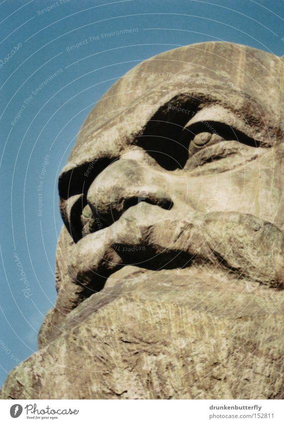 Charles Marx Head Stone Portrait photograph Bust Chemnitz Sky Blue Communism Landmark Monument Karl-Marx manifest