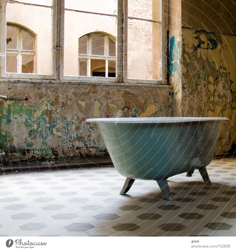 bathing day Bathtub Bathroom Old building Derelict Decline Shabby Broken Object photography Interior shot Window Deserted Period apartment Tumbledown Historic