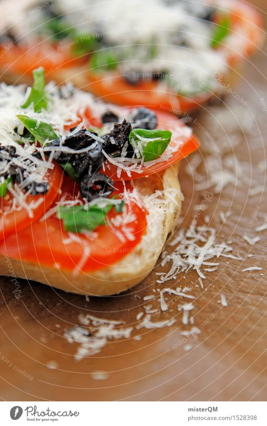 Before Food Cheese Dough Baked goods Roll Esthetic Delicious Appetite Eating Snack Snackbar Mediterranean Tomato Olive Basil Basil leaf Parmesan Baguette