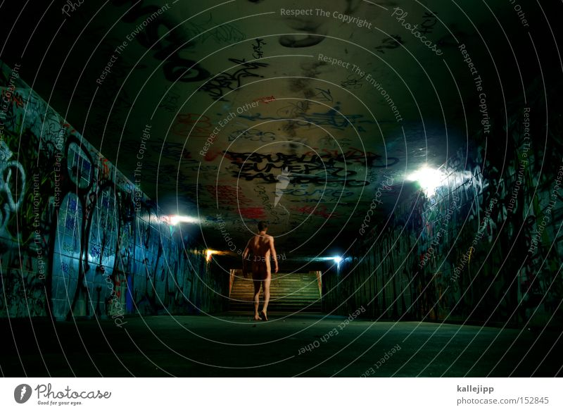 final destination Man Human being Tunnel Open Light Stairs Underpass Underground Train station Night Loneliness Naked Going Walking Running sports Whimsical