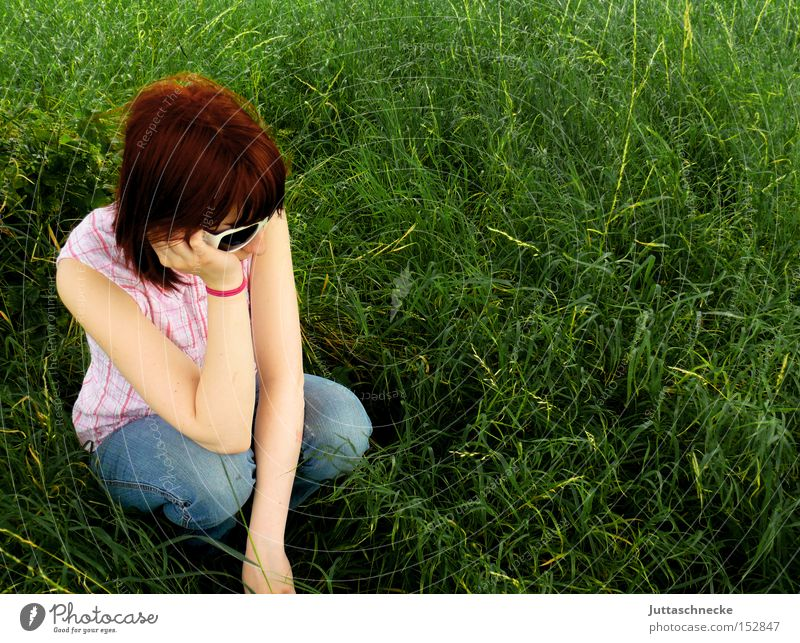 Woman Green Summer Grass Sit Jeans Peace Boredom Crouch