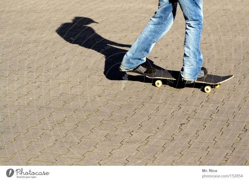 asphaltcowboy *1* Skateboarding Sports Leisure and hobbies Asphalt Shadow Action Contentment Funsport Playing street skater fun Jeans Movement