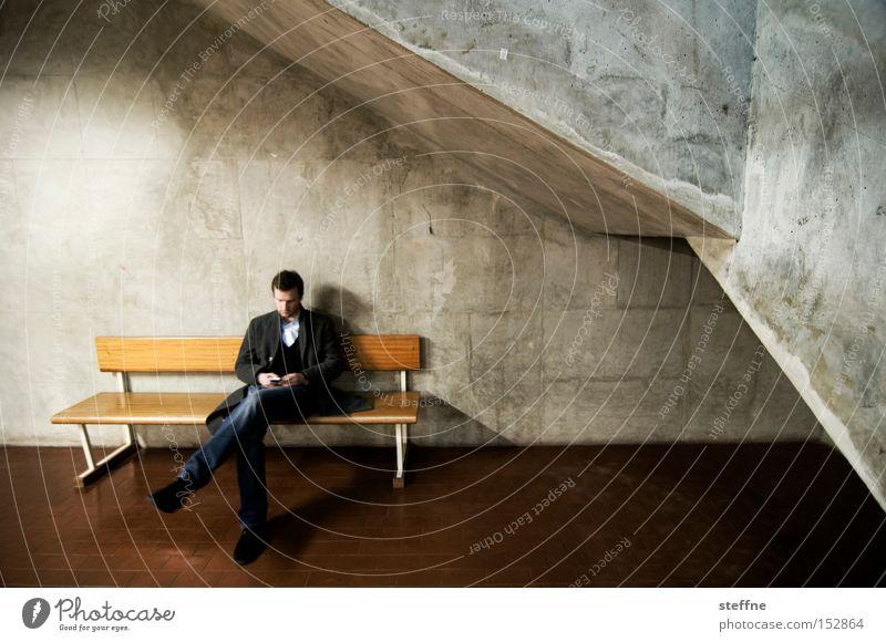 Man Dark Wait Concrete Sit Bench Boredom Cellar arch