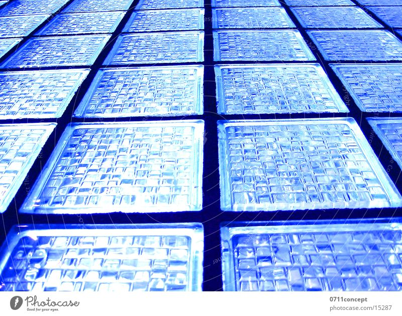 glass wall Window Light Shaft of light Blue Matrix Architecture Glass Looking Glass block