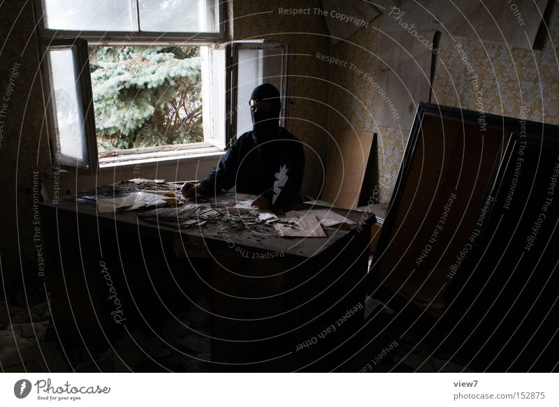 workplace Office Workplace Desk Harmful Untidy Window Vantage point Criminal Power Invisible Unrecognizable Wrap up warm Masked Document Services Public service
