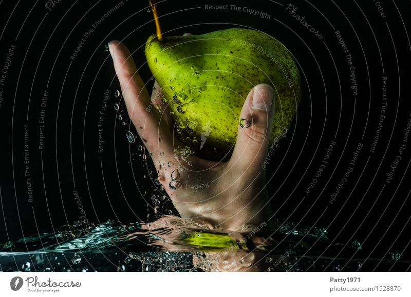 pear Food Fruit Pear Organic produce Vegetarian diet Diet Drinking water Healthy Eating Hand Fingers Fresh Delicious Wet Natural Green To enjoy Nutrition Water