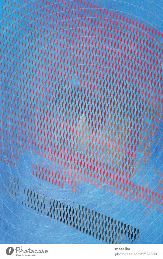 grid 3 Style Design Simple Hip & trendy Retro Blue Red Esthetic Watercolors Background picture Grunge Illustration Printed Matter Colour Metal grid Mesh grid